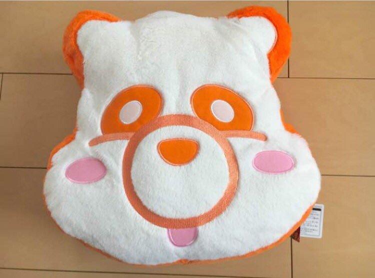 【AAAえ〜パンダ】ふさふさフェイスクッション赤青橙黄桃緑紫【クレーンゲーム】
